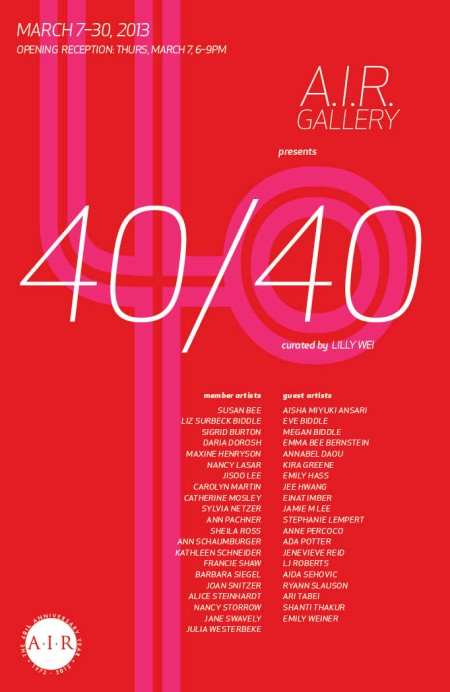 40/40 opens this week at A.I.R in NYC: includes work by Megan Biddle